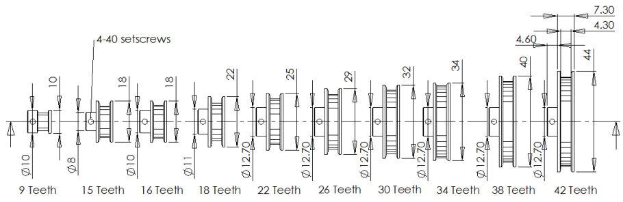 Timing Belt Pulley Formula : Fingertech robotics pulleys belts bearings